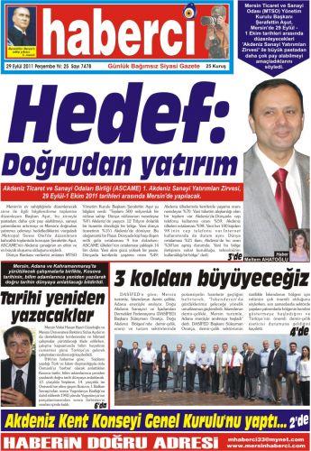 Mersin Gazete Manşetleri