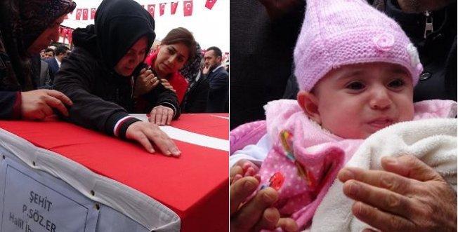 Şehit Eşini 4 Aylık Kızıyla Uğurladı