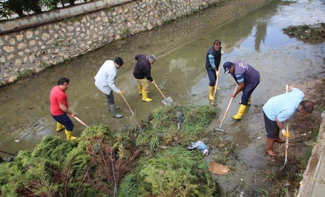 Erdemli'de Sazlık ve Çamurla Dolan Kanallar Temizleniyor