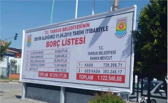 Tarsus Belediyesinin Borçları Askıya Çıktı
