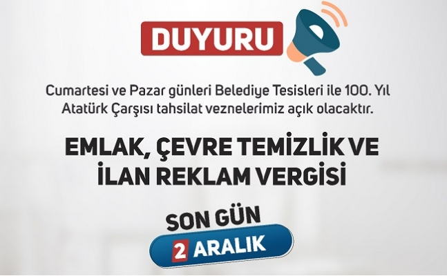 Tarsus Belediyesinde Vezneler Haftasonu Açık Olacak