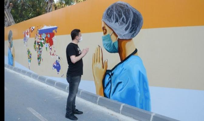 Sağlık Çalışanlarına Grafitili Teşekkür