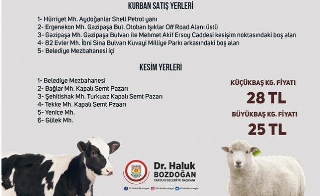 Tarsus Belediyesi, Kurban Kesim Yerleri ile Fiyatlarını Belirledi.
