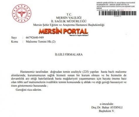 Mersin Şehir Hastanesi Yönetimi Firmalardan Malzeme Dileniyor