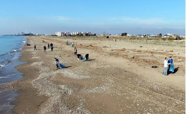 Kazanlı'da Kaplumbağaların Yumurtlama Alanından Poşetler Dolusu Çöp Toplandı