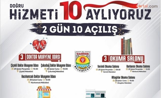 Tarsus Belediyesinden 2  Günde 10 Açılış