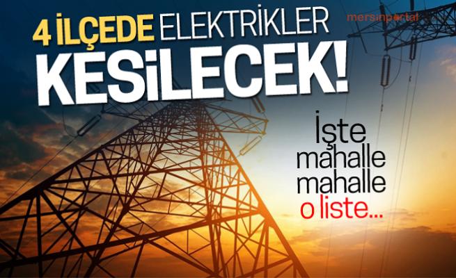 Mersin'de 4 İlçede Elektrik Kesintisi