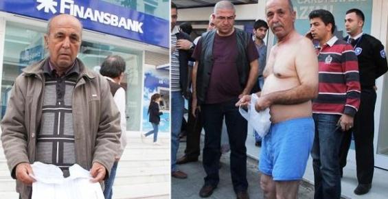 Banka Önünde Çıplak Eylem Yaptı, Alacaklı Çıktı.