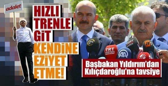 """Başbakan'dan Kılıçdaroğlu'na Tavsiye """"Hızlı Trenle Gidebilir. Niye Eziyet Ediyor Kendine?"""""""