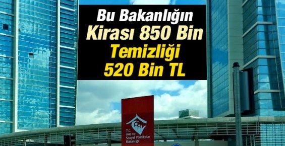 Bu Bakanlığın Kirası 850 Bin Temizliği 520 Bin TL