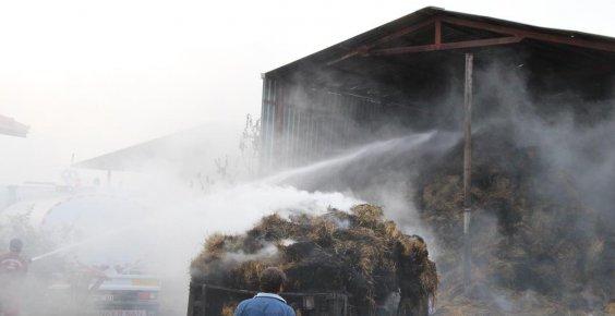 Burdur'da çıkan yangında 2 bin saman balyası yandı