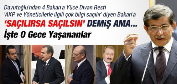 Davutoğlu'nun Dört Bakan İçin Yüce Divan Resti