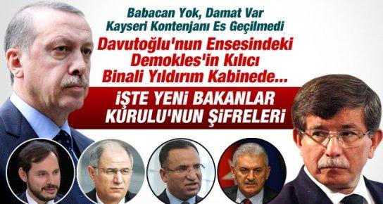 Davutoğlu'nun mu Erdoğan'ın mı Kabinesi, İşte Yeni Kabinenin ŞİFRELERİ