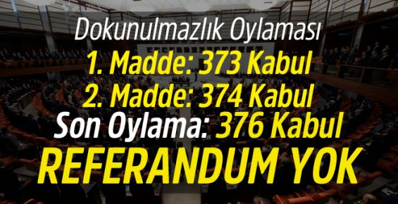 DOKUNULMAZLIK TEKLİFİ MECLİS'TEN GEÇTİ !