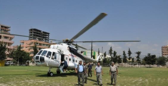 Erdemli'de Yangın Göletleri Keşfi Helikopterle Yapıldı