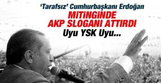 """Erdoğan """"Paralel"""" Mitingde AKP Sloganı Attırdı"""