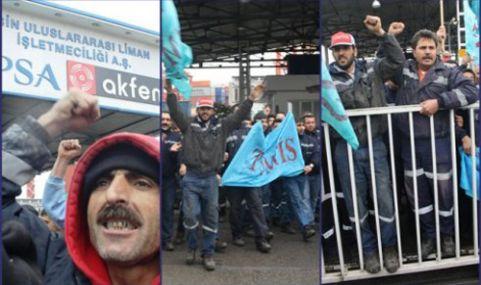 Mersin Limanı'nda Toplu Sözleşme Eylemi