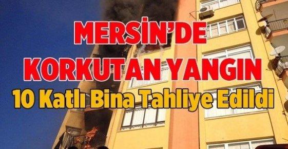 Mersin'de 10 Katlı Binanın 5. Katında Çıkan Yangın Korkuttu.