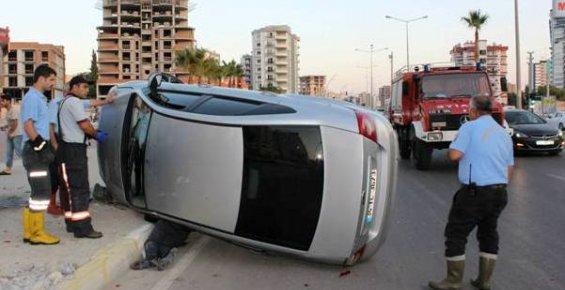 Mersin'de 34. Cadde'de Yaşanılan Trafik Kazası Ucuz Atlatıldı.