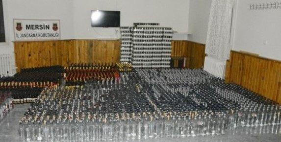 Mersin'de Binlerce Kaçak İçki ve Sigara Ele Geçirildi