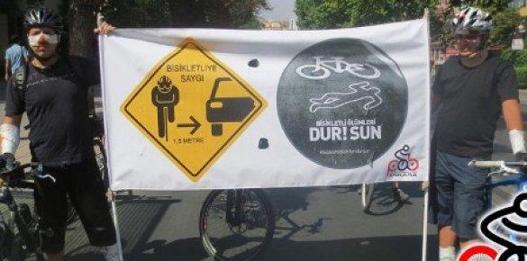 """Mersin'de """"Bisikletli Ölümleri Dursun"""" Eylemi"""