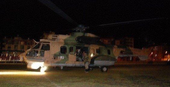 Mersin'de Karda Mahsur Kalan Hastalar Helikopterle Kurtarıldı