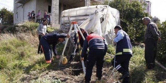Mersin'de Kuyuya Düştü! Üstelik Hamile