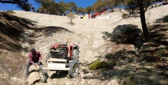Mersin'de Traktör Uçuruma Yuvarlandı: 1 Yaralı