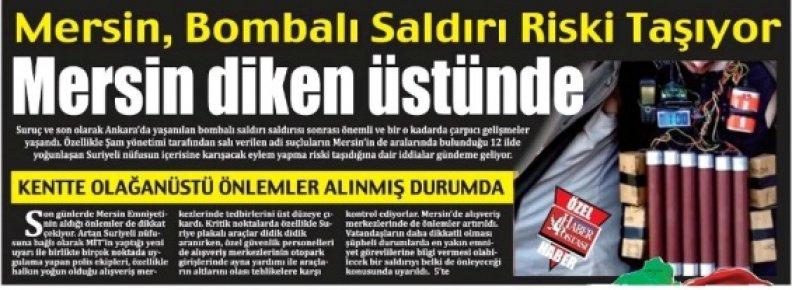 Mersin'in Konuştuğu Gazetenin Şok Manşeti