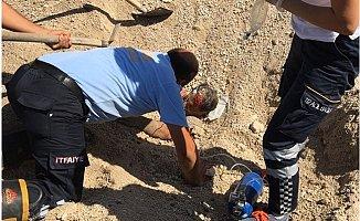 Çakıl Yığını Altında Kalan İşçi Yaralı Kurtarıldı
