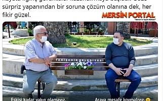 Sağlık Bakanından Yenişehir'in Sosyal Mesafeli Oturma Bankına Destek