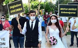 Temsili Gelin ve Damat ile 'Düğünler Tedbirli Başlasın' Talebi