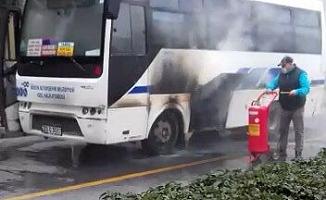 Halk Otobüsündeki Yangın Korkuttu