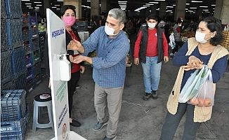 Tarsus Pazar Yerlerinde Maske ve Hijyen Önlemi
