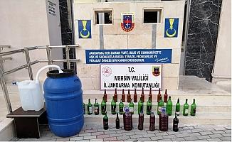 Mersin'de Jandarma Satışa Hazır 239 Litre Kaçak İçki Ele Geçirdi.