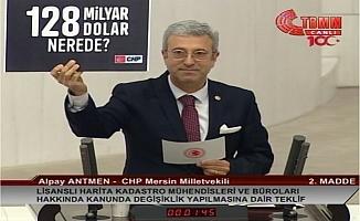 CHP'li Antmen, '128 Milyar Dolar Nerede?' Pankartıyla Kürsüye Çıktı.