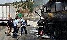 Tarsus'ta Seyir Halindeki Bir Yolcu Otobüsü Tamamen Yandı.