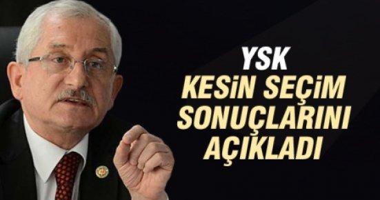 YSK Kesin Seçim Sonuçlarını Açıkladı.
